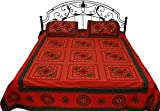 Exotic India Bittersweet-Red Gujarati Bedspread with Floral-Embroidery and Mirrors - Pure Cotton with Pillow Cove