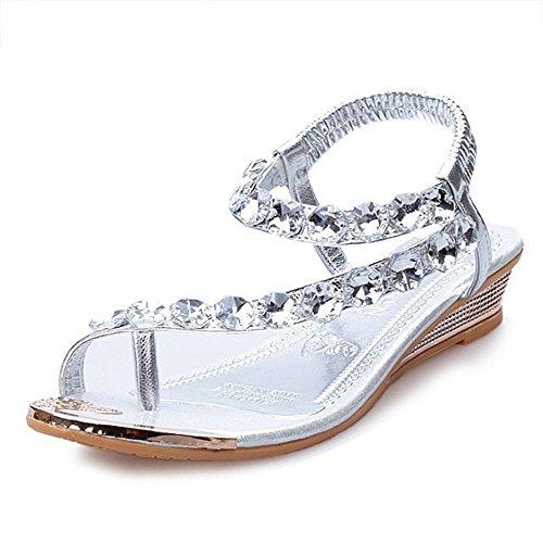 QXH Zapatos de Mujer Sandalias Planas de Cabeza Redonda Rhinestone Elasticidad Inferior Silver