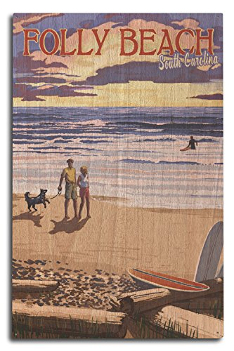 Lantern Press Folly Beach, South Carolina - Beach Scene and Surfers at Sunset (10x15 Wood Wall Sign, Wall Decor Ready to - Surfer Sign Wood