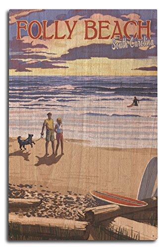 Lantern Press Folly Beach, South Carolina - Beach Scene and Surfers at Sunset (10x15 Wood Wall Sign, Wall Decor Ready to Hang)
