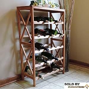 25 bottle wine racks free standing floor unit. Black Bedroom Furniture Sets. Home Design Ideas