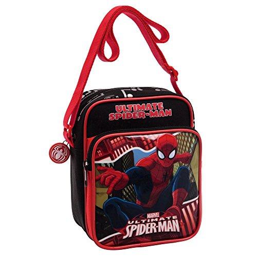 Marvel Spiderman Borsa Messenger, Poliestere, Rosso, 19 cm