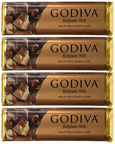 Godiva Chocolatier Solid Chocolate, 1.5 Ounce Each, Pack of 4, Packaging May Vary