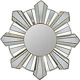 Northlight 25″ Sparkling Sunburst Wave Matte Gold Decorative Round Wall Mirror For Sale