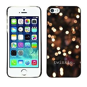 Cubierta de la caja de protección la piel dura para el Apple iPhone 5 / 5S - lights winter night yellow bright