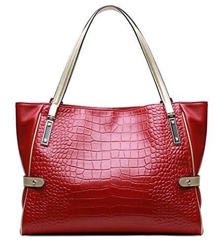 Bolsos de señora Xinmaoyuan Otoño e Invierno señoras bolsos de cuero de cocodrilo Bolso Bolso de piel de vaca de patrón simple bolsa momia,naranja Rojo