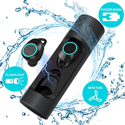Tiamat True Wireless Earbuds, Force Sports Wireless Bluetooth Headphones, Bluetooth 5.0 IPX6 7 Waterproof Power Bank Portable Fan USB Flashlight Long Lasting Earbuds for Samsung,Smartphone More