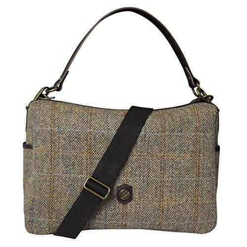 à épingle Harris brun à Bonfanti Cuir et et bandoulière italien cheveux rouge Tweed vert tartan clair Grand sac OF4q6FA