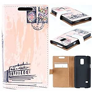 TOPMM Destination Stamps Pattern High-Grade PU Leather Full Body Case with Card Slot for Samsung Galaxy S5 Mini G800