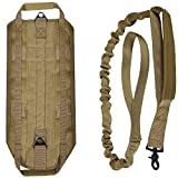 LIVABIT [ Tan ] Canine Service Dog Tactical Molle Vest Harness + Matching Heavy Duty Bungee Leash Strap Medium