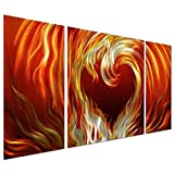 """Fire Heart Metal Wall Art Decor of 50"""" x 24"""" - Three-Panel Abstract Contemporary Wall Sculpture Perfect for Bedroom and Living Room"""