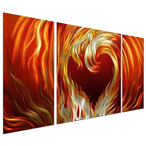Pure Art Heart of Fire Aluminum Metal Wall Art, Set of 3 Panels, shades of reds oranges yellows on silver - vibrant Sculpture for your home / business - 50
