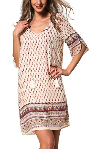 ARANEE Women's Bohemian Vintage Printed Loose Casual Boho Tunic Dress (XL, Apricot2)