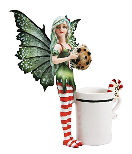 Ebros Amy Brown Chocolate Cookie and Candy Cane Tea Cup Christmas Fairy Collector Figurine As Faerie Collectible Decor Statue Christmas Valentine's Birthday Gifts For Fantasy Lovers of Fairies Pixies