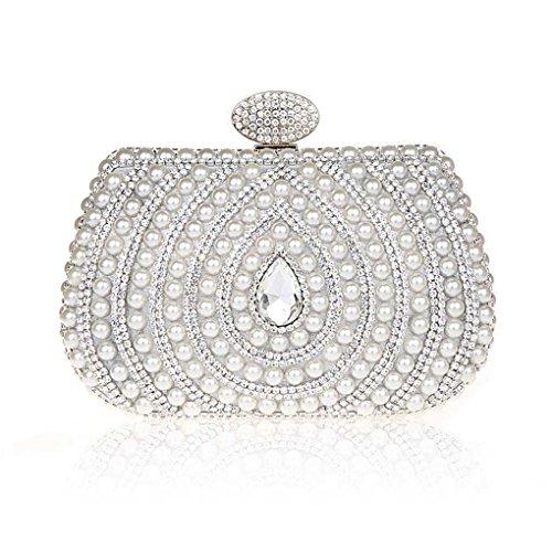 Sac Perles Main Sacs Pochette de de Argent Mariage Imitation Pochette Soirée Cristal Soiree a Srx8Sq