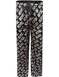 AC DC Logo Black Cotton Lounge Pants For Men