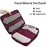 Xsorter Travel Shirts & Ties Pouch, Anti-wrinkle Multi-function Shirt Organizer Travel Clothes Storage, Waterproof Luggage Packing Bag for Men & Women, 2 Folding Boards Included (Burgundy Red)