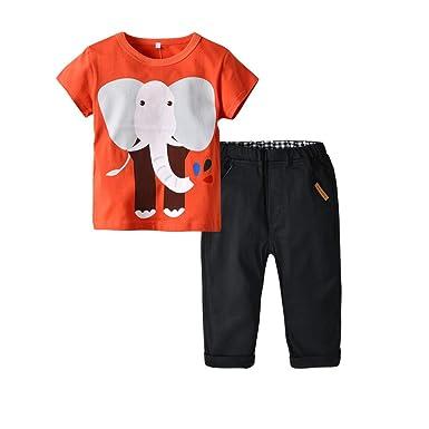 190bdbcc0d9a Amazon.com  GorNorriss Baby Set Toddler Boys Summer Elephant Cartoon Short  Sleeve T-Shirt Tops+Pants Sets  Clothing