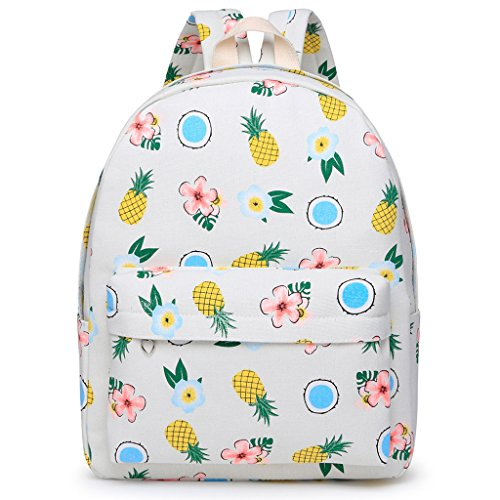 Dabixx Women Girls Printed Canvas Backpack Students School Backpack Yellow Pineapple