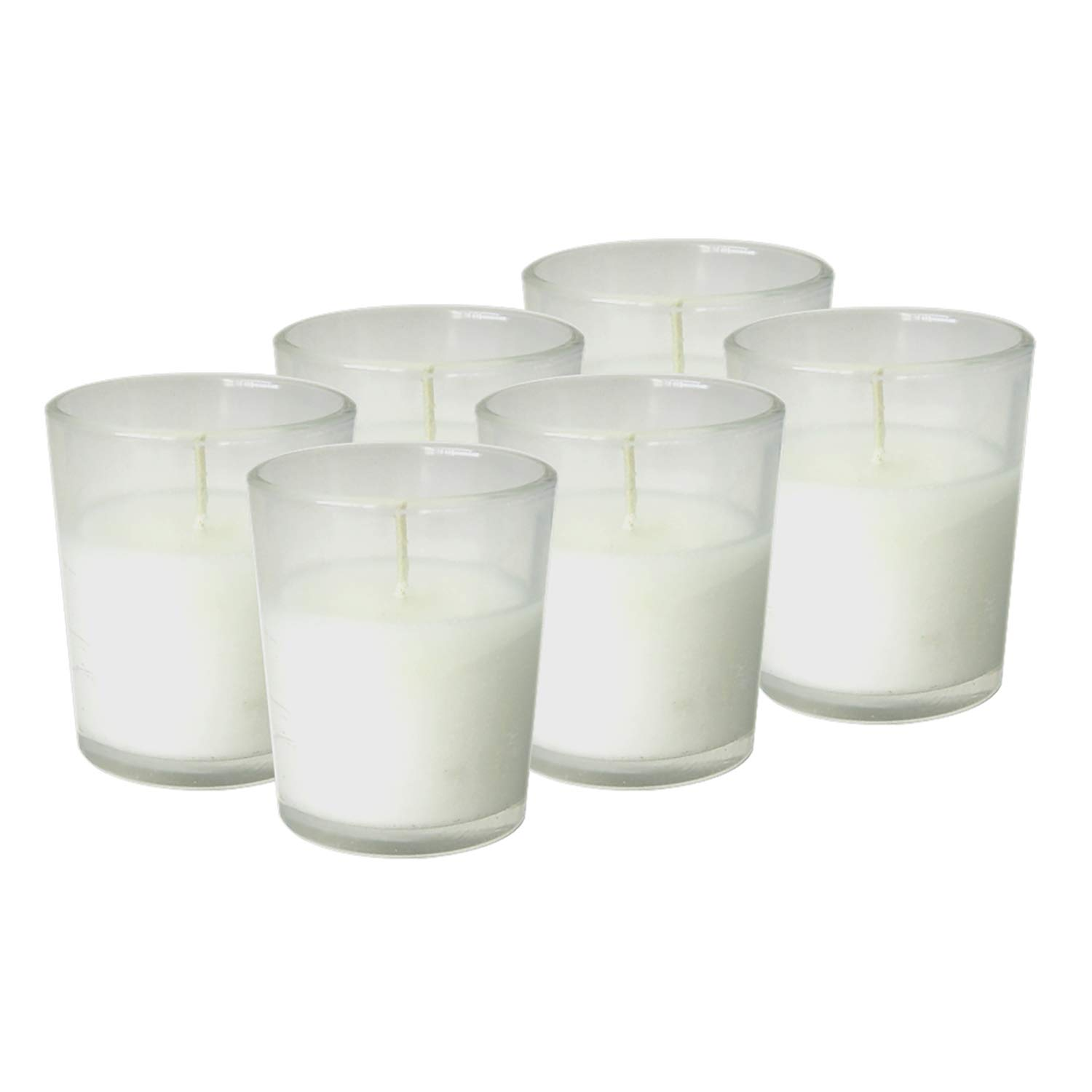 Simply Soson 48 Unscented Votive Candles in Glass | Wax Filled White Candles in Glass | 15 Hour Burn Time Votive Candles Bulk | Improved Packaging (48 Pack) Code 2274