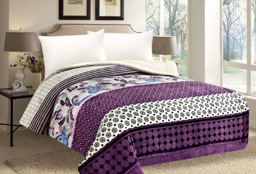 Queen Comforter Thick Warm Sumptuously Soft Beautifully Plush Faux Fur Borrego / Microfiber Reversible Sherpa Winter Blankets Choose From Purple Black Burgundy Animal Print (Purple Peace CQ 198)