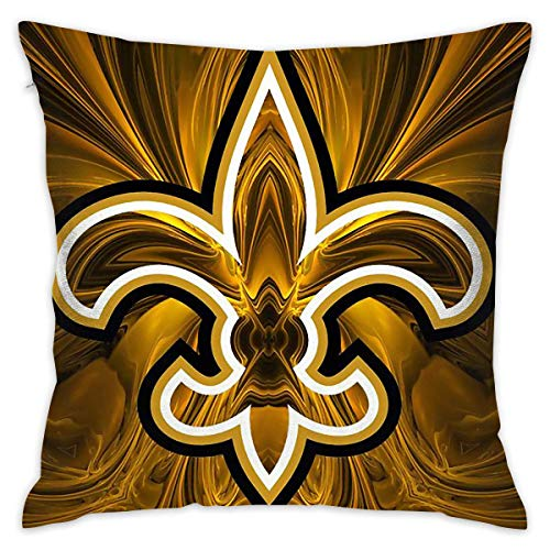 New Orleans Saints Primary Hold Pillow Home Square Sofa Decorative Pillow Zippered Throw Pillow for Living Room, Cafe,Car Decoration,Library 18x18 Inch -