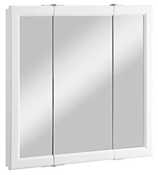 Design House 545293 Wyndham White Semi-Gloss Tri-View Medicine Cabinet  Mirror with 3
