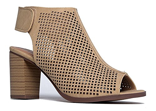 City Classified Women's Roadway Faux Leather Peep Toe Laser Cut Out Slingback Stacked Heels Beige 8.5 Image