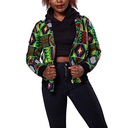 Bomber Invierno Dashiki Coat tamaño L Zipper Green Color Biker Print Short Womens Classic ZFFde Jacket African 8xSUnUp