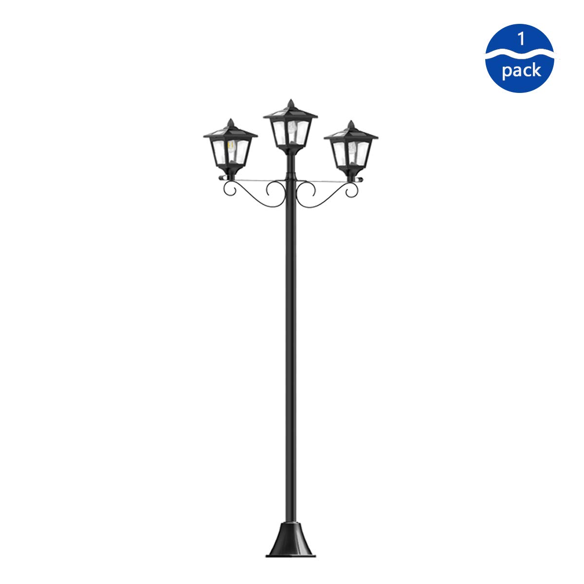 72''Solar Power Supply Street Lamp, Courtyard, Lawn, Garden Lamp, Three-end Retro LED Adjustable Floor Lamp, Outdoor Intelligent Lamps and Lanterns