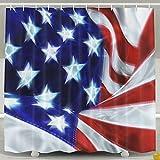 BINGO FLAG Funny Fabric Shower Curtain USA Flag Nice Wind Waterproof Bathroom Decor With Hooks 60 X 72 Inch