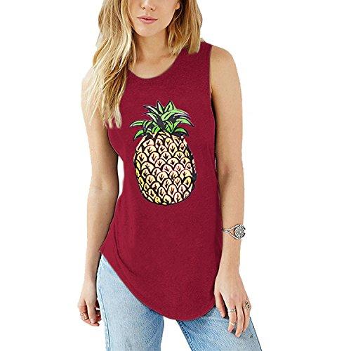 DCOIKO Women Summer Sleeveless Tops Tanks Pineapple Printed T-Shirts Casual Loose Tees Shirts