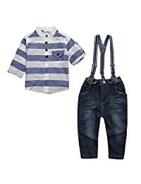 MagiDeal Gentleman Kids Baby Boys 3pcs Clothing Set Outfits Shirt/Denim Jeans/Suspenders 2-7Y - Blue, Size 3