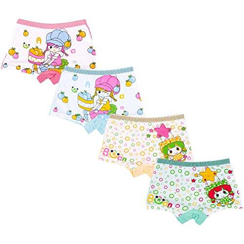 Modal Boyshort Panties (Antion Girl's 3-7T Modal 2 Cartoon Boyshorts Underwear(Pack Of 4) Size)