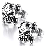 MENDINO Mens Stainless Steel Stud Earrings Silver Gothic Skull