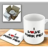 I Love Food Mug and Coaster - Pork Pies by The Victorian Printing Company