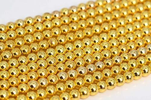 3MM Natural 18k Gold Hematite Beads Grade AAA Round Gemstone Loose Beads 15.5