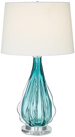 Claudette Turquoise Glass Table Lamp Amazon Com