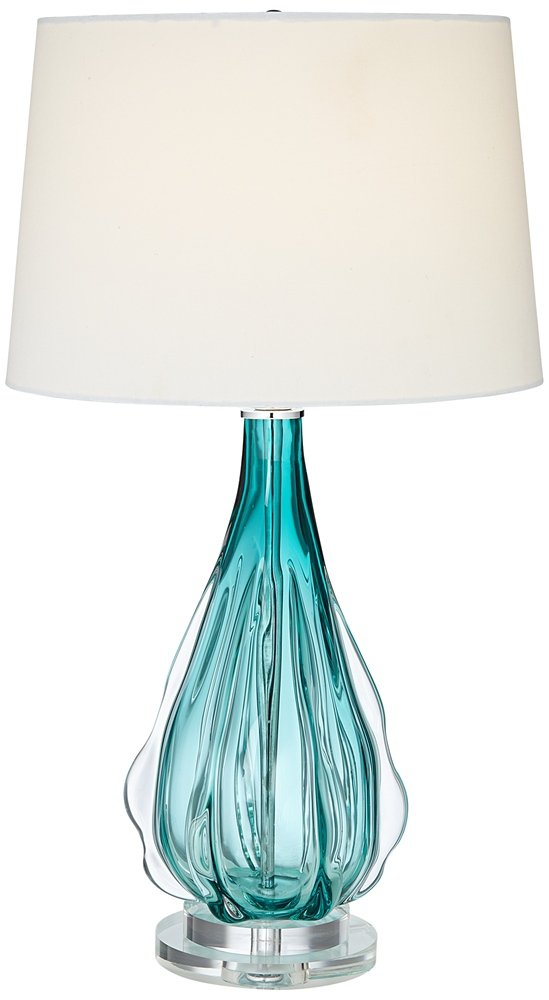 "Claudette Turquoise Glass Table Lamp - Overall: 27"" high. Base is 6"" wide. Shade is 13"" across the top x 15"" across the bottom x 10"" high. Weighs 9.5 lbs. Uses one maximum 150 watt standard base bulb (not included). On-off socket switch. Turquoise glass table lamp; wave pattern in the glass. - lamps, bedroom-decor, bedroom - 51eYNRmeekL -"