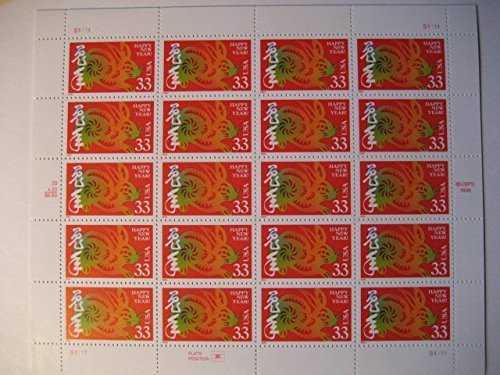 Lunar New Year, Full Sheet of 20 x 33-Cent Postage Stamps, USA 1999, Scott 3272 (1999 Rabbit)