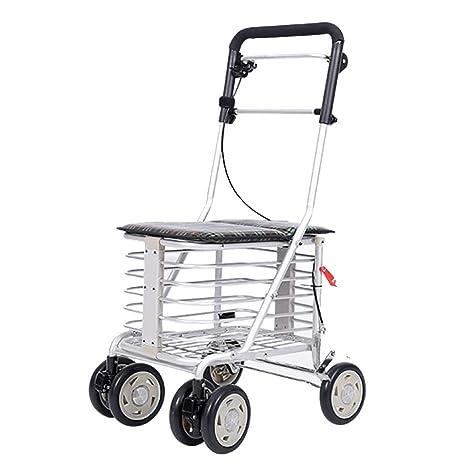 Andador de aluminio ligero, plegable, con 6 ruedas, andador con ...
