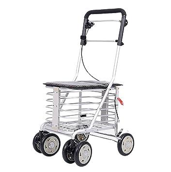 Andador de aluminio ligero, plegable, con 6 ruedas, andador con freno de varilla