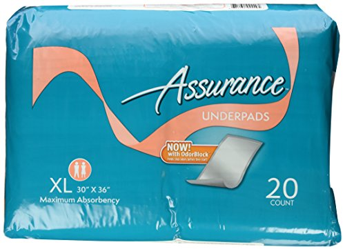 assurance maximum absorbency underpads with odorblock extra large 30 x 36 20 count health. Black Bedroom Furniture Sets. Home Design Ideas