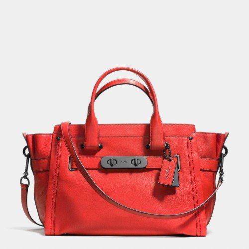 COACH soft swagger in soft grain leather 37732 DARK GUNMETAL/CARMINE by Coach