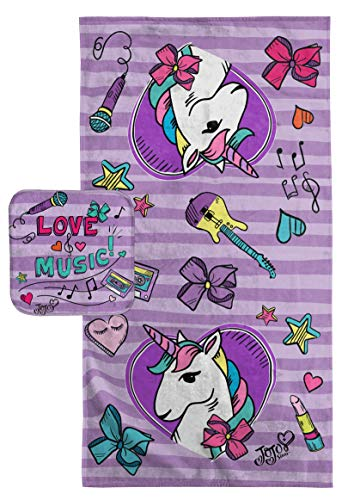 Jay Franco Nickelodeon JoJo Siwa Super Soft & Absorbent Kids 2 Piece Bath Towel & Washcloth Set - Fade Resistant Cotton Terry Towel Set (Official Nickelodeon Product)