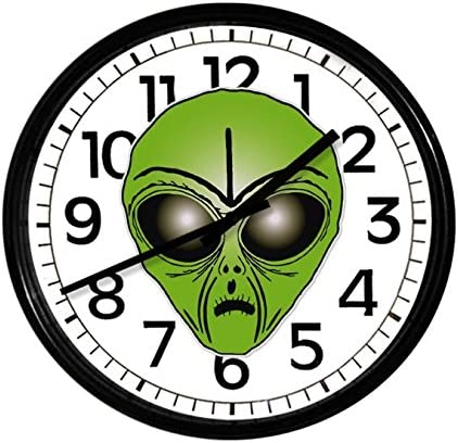 New Black Finish Round Wall Hanging Clock Featuring Alien Themed Logo