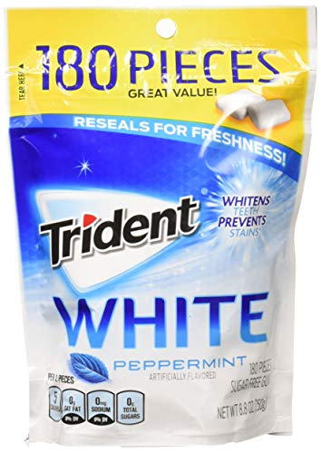 Trident White Sugar Free Gum, Peppermint, 180 Count (packaging may -