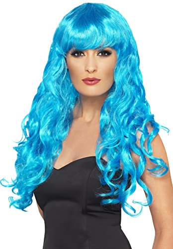 [Smiffy's Women's Long and Curly Blue Wig with Bangs, One Size, Siren Wig, 5020570422601] (Siren Costume Halloween)
