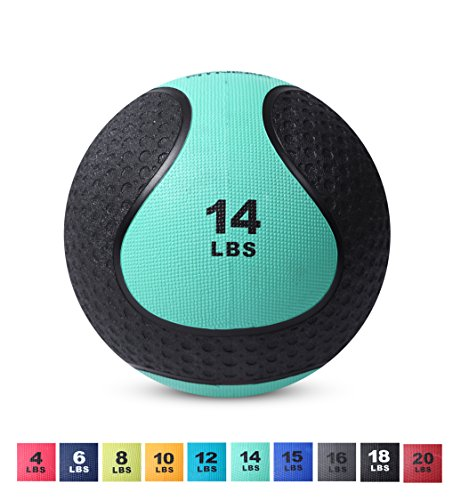 Day 1 Fitness Medicine Exercise Ball with Dual Texture for Superior Grip 14 Pounds - Fitness Balls for Plyometrics, Workouts - Improves Balance, Flexibility, Coordination