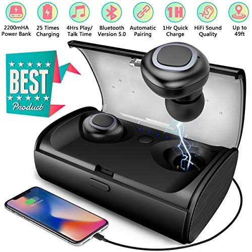 Wireless Earbuds, Bluetooth Earbuds 5.0 with Mic, True Wireless Bluetooth Earphones Stereo with 2200mAh Charging Case for Running Mini Earbuds Bass In-Ear Earbuds Compatible IOS Android Cell Phone